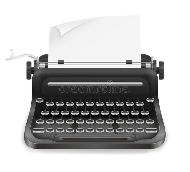 Viejo ejemplo retro del vector de la acción del icono del vintage de la máquina de escribir stock de ilustración