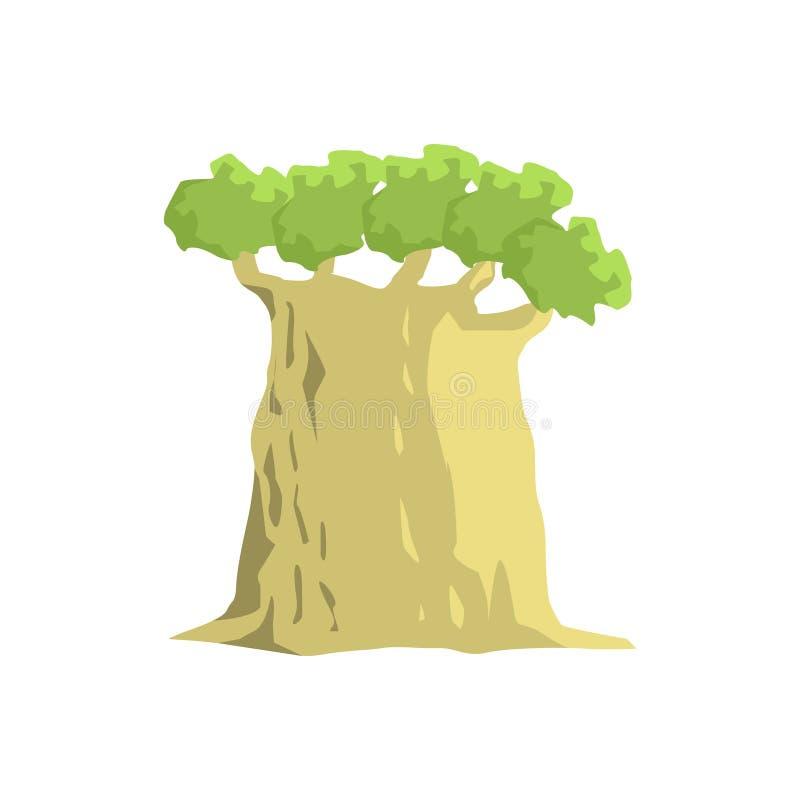 Viejo elemento ancho del paisaje de la selva del árbol del baobab stock de ilustración
