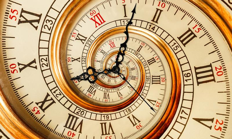 Viejo espiral antiguo del fractal del extracto del reloj Mire el fondo abstracto inusual del modelo del fractal de la textura del imagen de archivo libre de regalías
