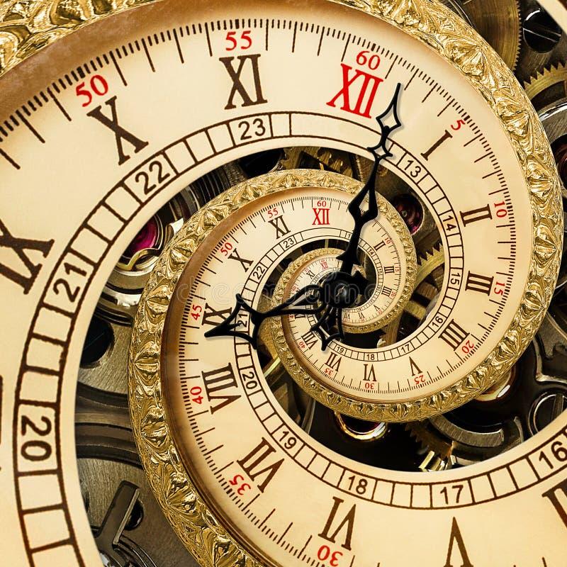 Viejo espiral antiguo surrealista del fractal del extracto del reloj Mire los relojes con fractal abstracto inusual de la textura imagenes de archivo