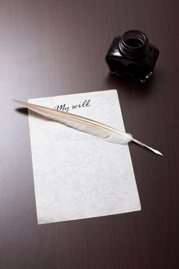 Viejo estilo mi carta de la voluntad fotografía de archivo libre de regalías
