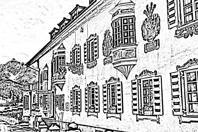 Viejo europen la casa ilustración del vector