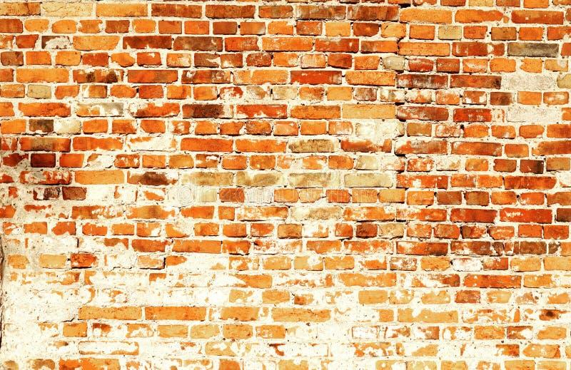 Viejo fondo anaranjado rojo de la arquitectura de la pared del cemento del ladrillo foto de archivo libre de regalías