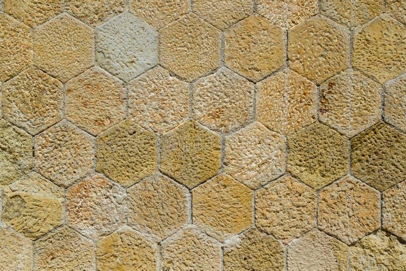 Viejo fondo ascendente apenado inusual de la textura de las baldosas del cierre completo hexagonal del marco fotos de archivo libres de regalías