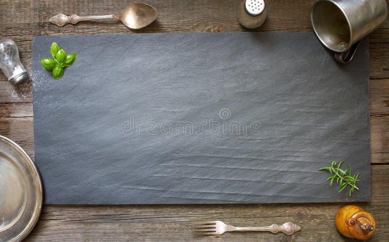 Viejo fondo culinario retro del extracto del menú foto de archivo