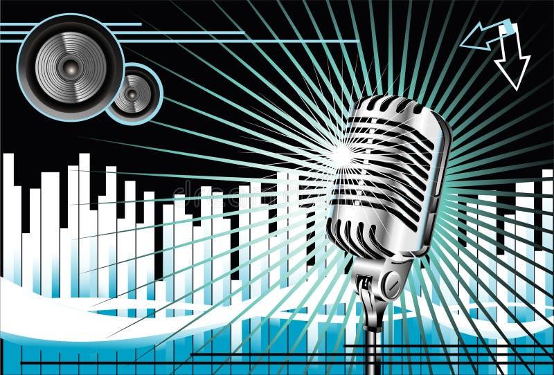 Viejo fondo de la música del micrófono ilustración del vector