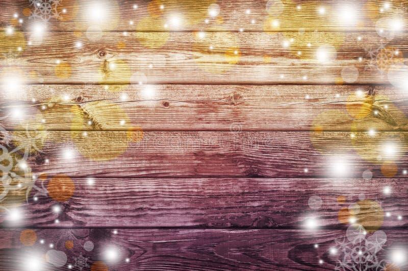 Viejo fondo de madera Luces celebradoras Partido de la noche ilustración del vector