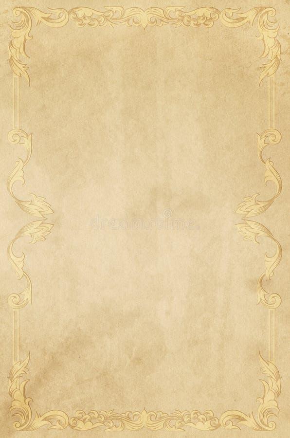Viejo fondo de papel amarilleado con el marco del vintage foto de archivo libre de regalías