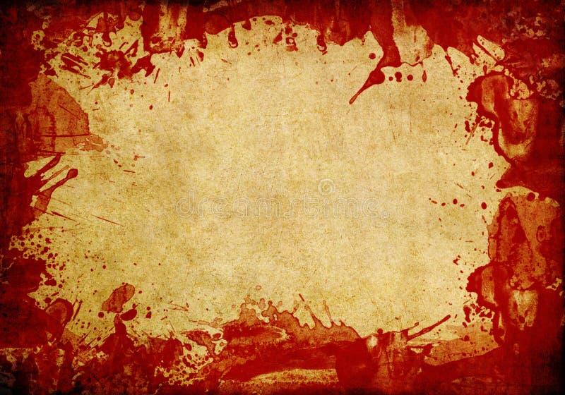 Viejo fondo de papel con el chapoteo rojo de la sangre foto de archivo