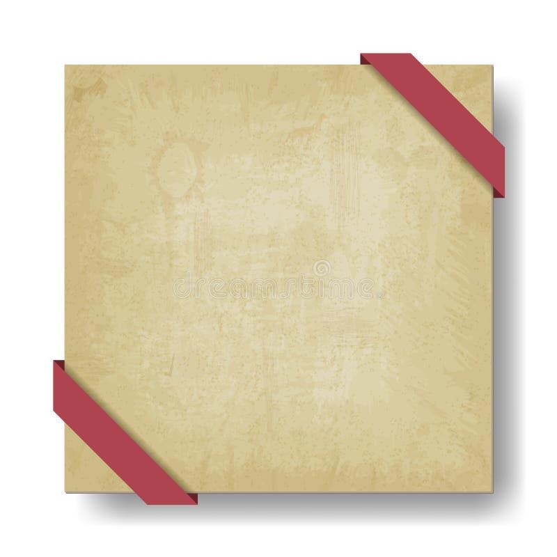 Viejo fondo de papel con la cinta roja ilustración del vector