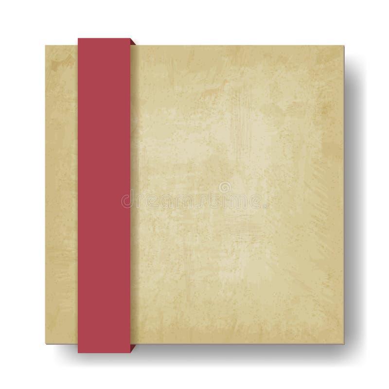 Viejo fondo de papel con la cinta roja stock de ilustración