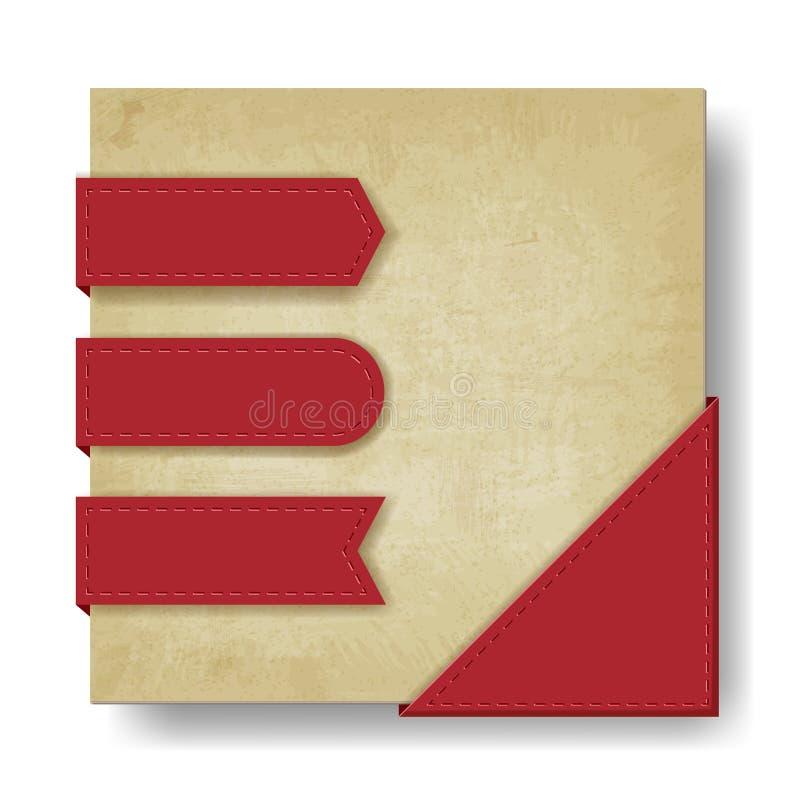 Viejo fondo de papel con las cintas y la esquina rojas ilustración del vector