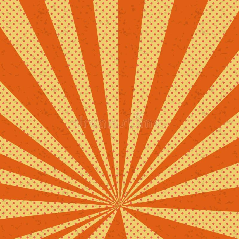 Viejo fondo de papel de la naranja del cómic stock de ilustración