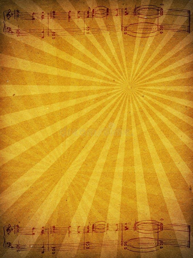 Viejo fondo de papel de la textura con el personal de la música imagen de archivo libre de regalías