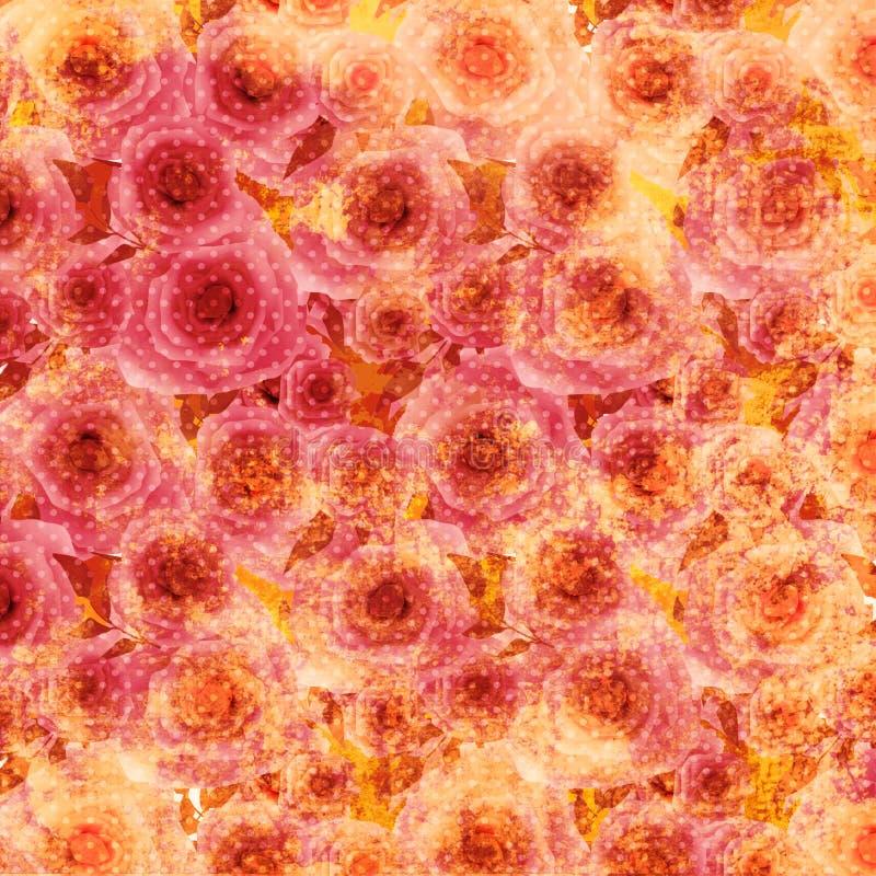 Viejo fondo del estampado de flores de las rosas del Grunge ilustración del vector