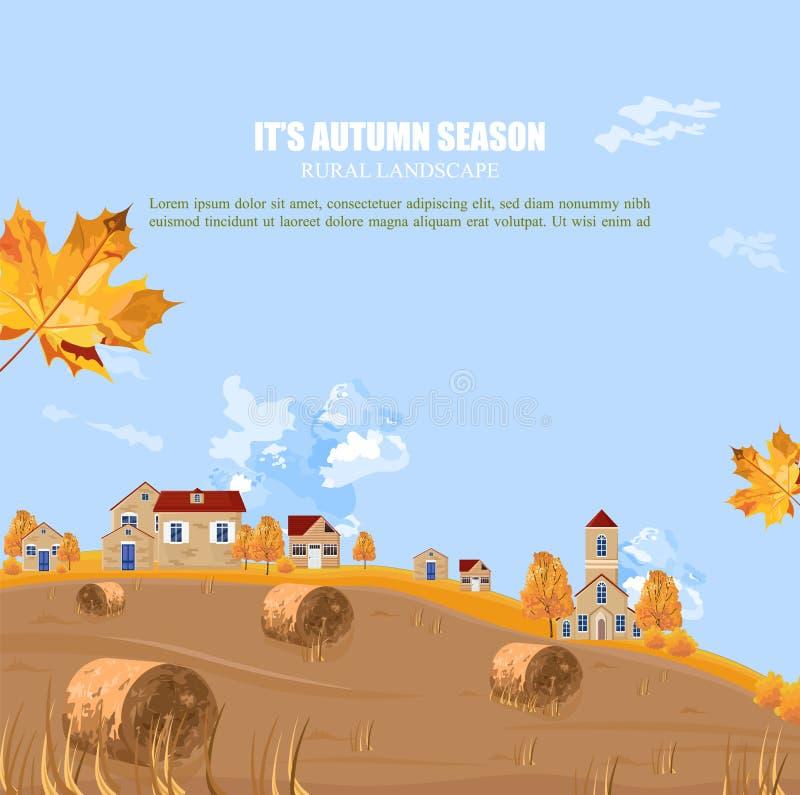 Viejo fondo del vector de la temporada de otoño del pueblo Ejemplos del vintage del otoño stock de ilustración