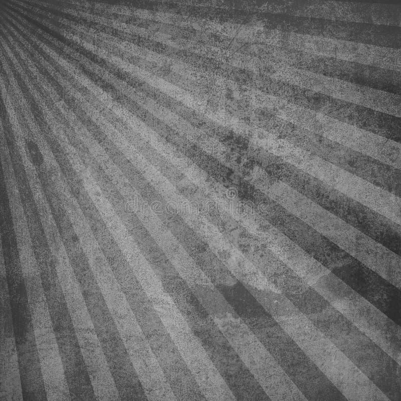 Viejo fondo del vintage con textura granosa y grunge, resplandor solar retro blanco y negro en el diseño rayado radial se lleva q stock de ilustración