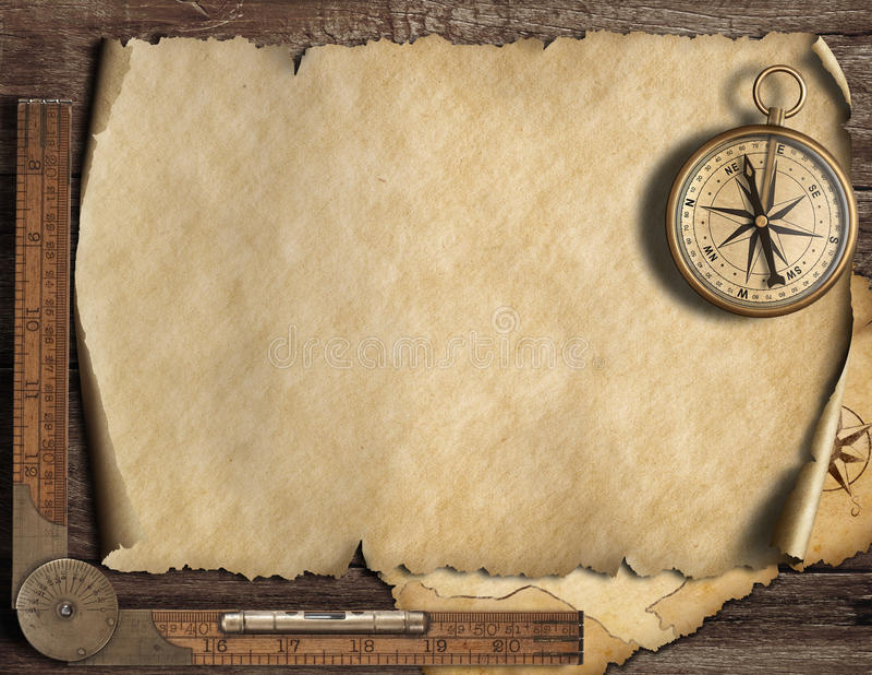 Viejo fondo en blanco del mapa con el compás Concepto de la aventura y del viaje ilustración 3D libre illustration