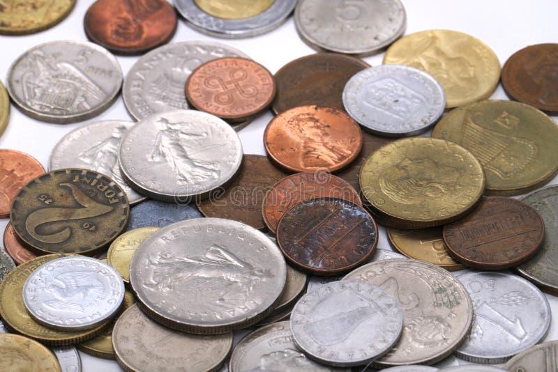 viejo fondo europeo del dinero de las monedas fotos de archivo