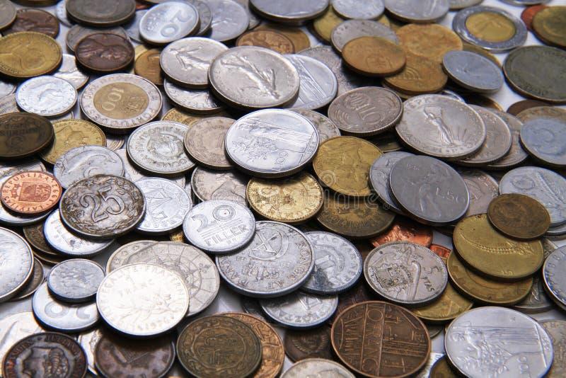 viejo fondo europeo del dinero de las monedas foto de archivo