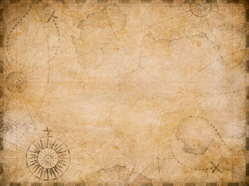 Viejo fondo náutico del mapa del tesoro stock de ilustración