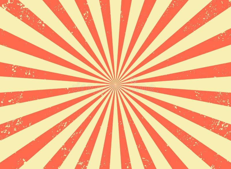 Viejo fondo retro con los rayos y la imitaci?n de la explosi?n Modelo del starburst del vintage con textura de la cerda Estilo de libre illustration