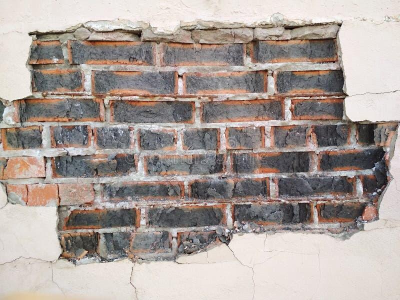 Viejo fondo urbano destruido del yeso de la textura concreta de la pared de ladrillo imágenes de archivo libres de regalías