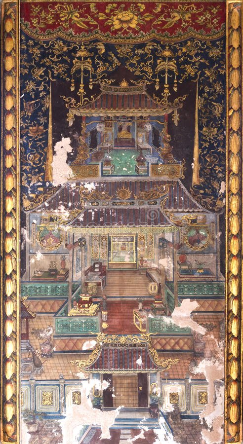 Viejo fresco chino en la pared tailandesa del templo fotos de archivo libres de regalías
