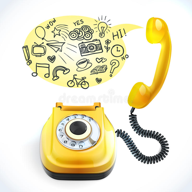Viejo garabato del teléfono stock de ilustración