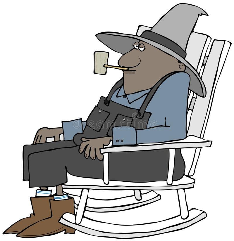 Viejo granjero étnico en una mecedora libre illustration