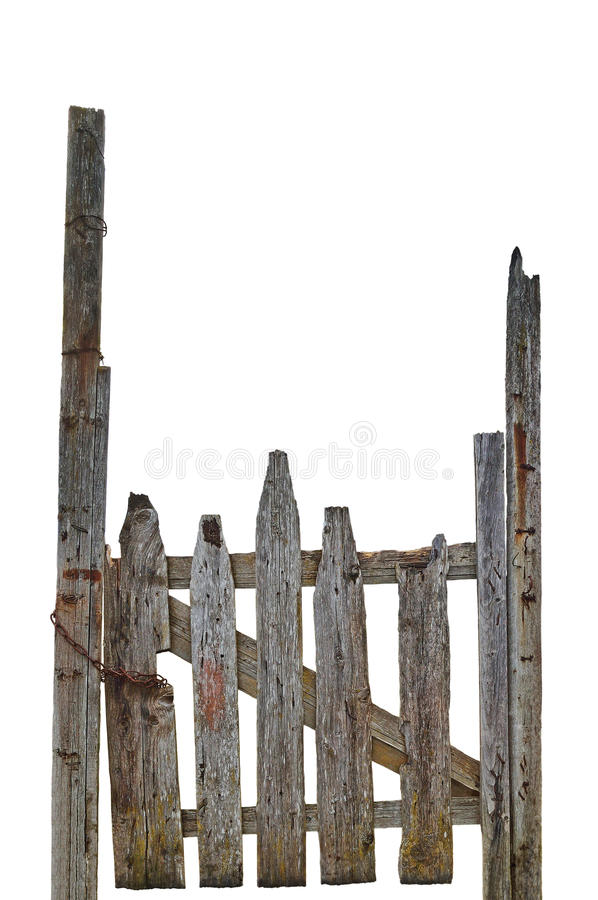 Viejo Grey Wooden Gate arruinado rural resistido envejecido, primer vertical detallado grande aislado de la entrada de Gray Wood  fotos de archivo libres de regalías