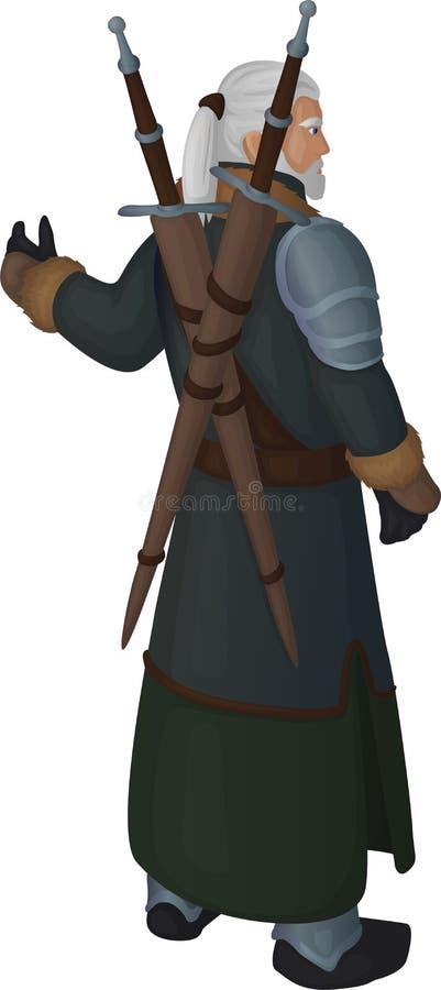 Viejo héroe con dos cuchillas libre illustration