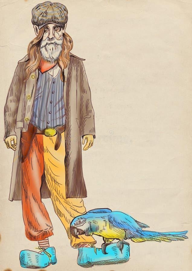 Viejo hombre barbudo stock de ilustración