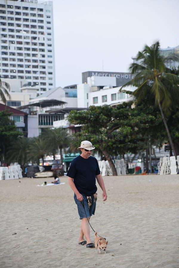 Viejo hombre con el perro en la playa Tailandia de pattaya imagen de archivo libre de regalías