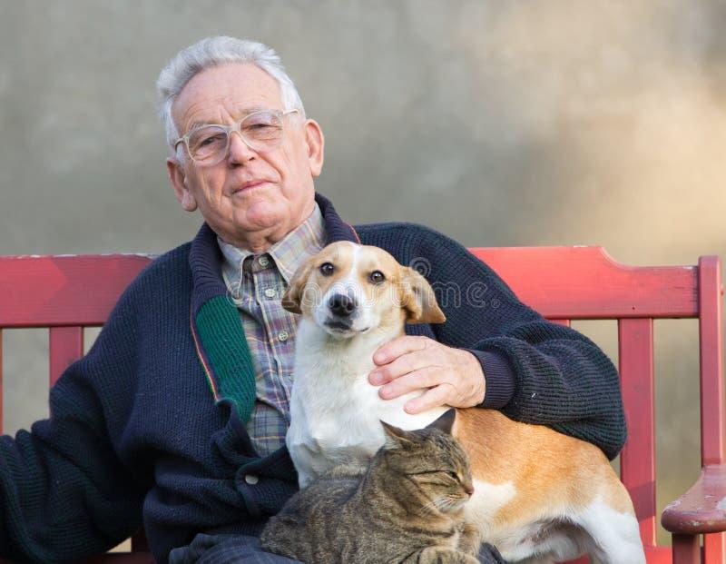 Viejo hombre con el perro y el gato fotos de archivo