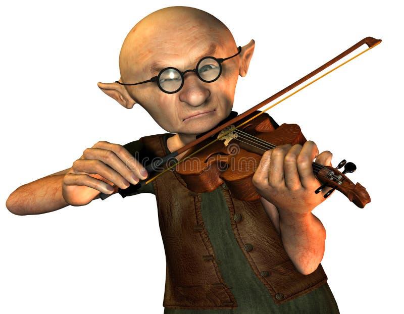Viejo hombre con el violín ilustración del vector