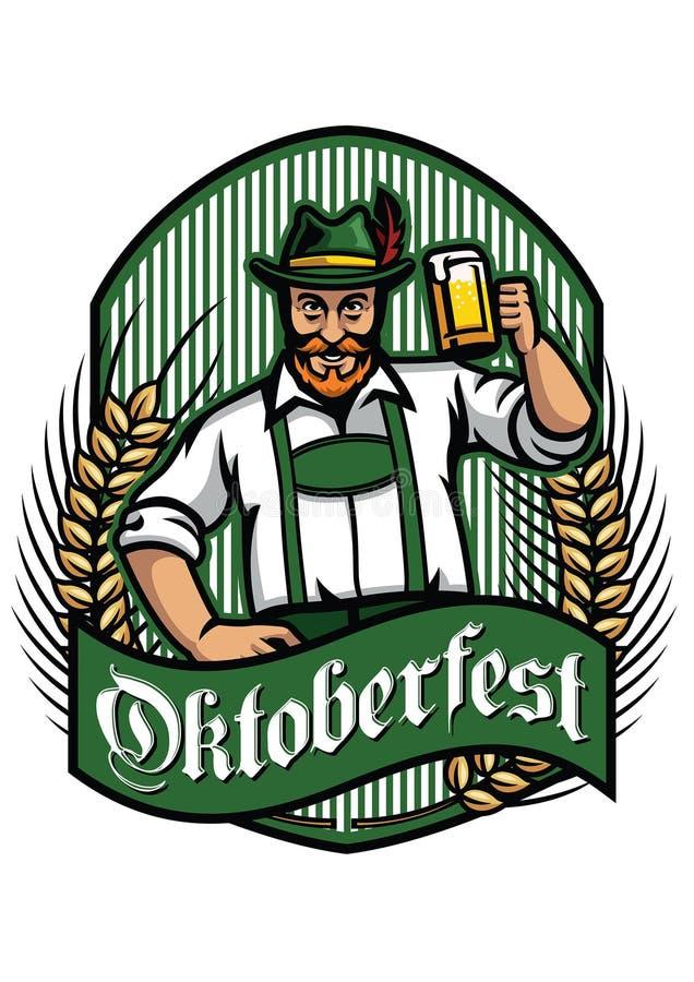 Viejo hombre con la celebración de la cerveza más oktoberfest libre illustration