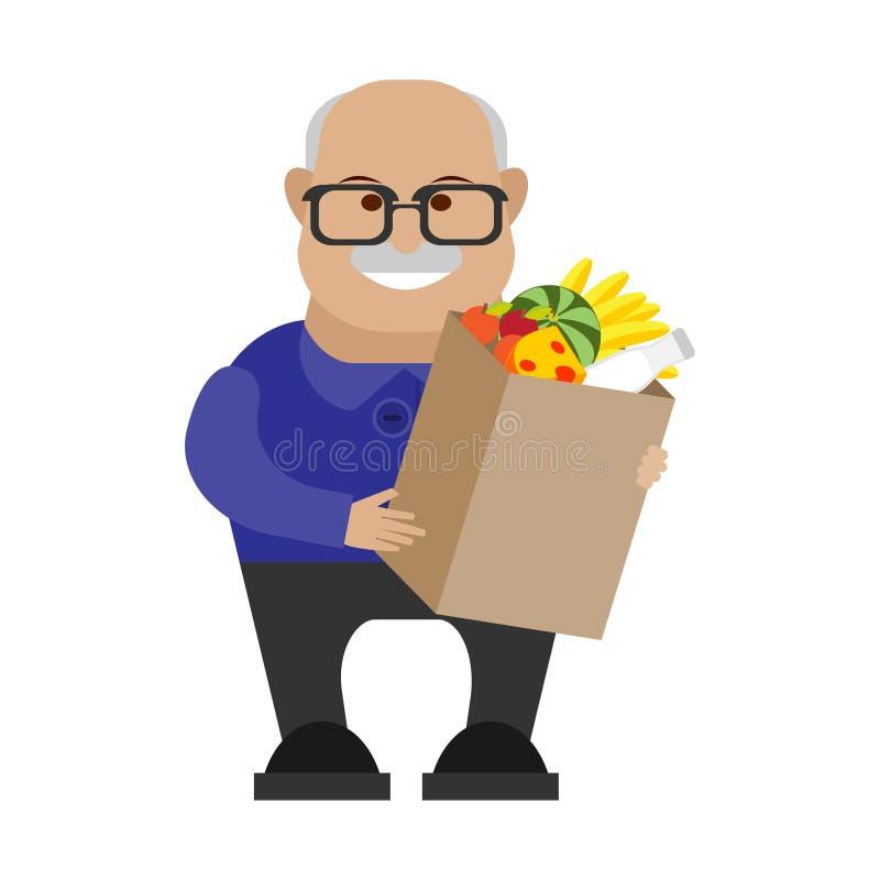 Viejo hombre con un bolso de comidas