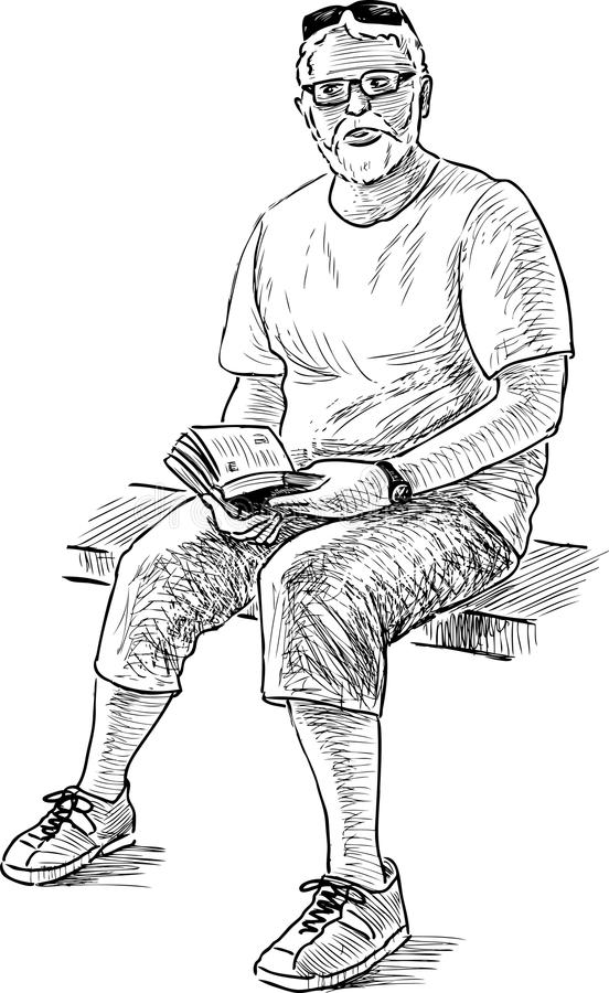 Viejo hombre con un libro libre illustration