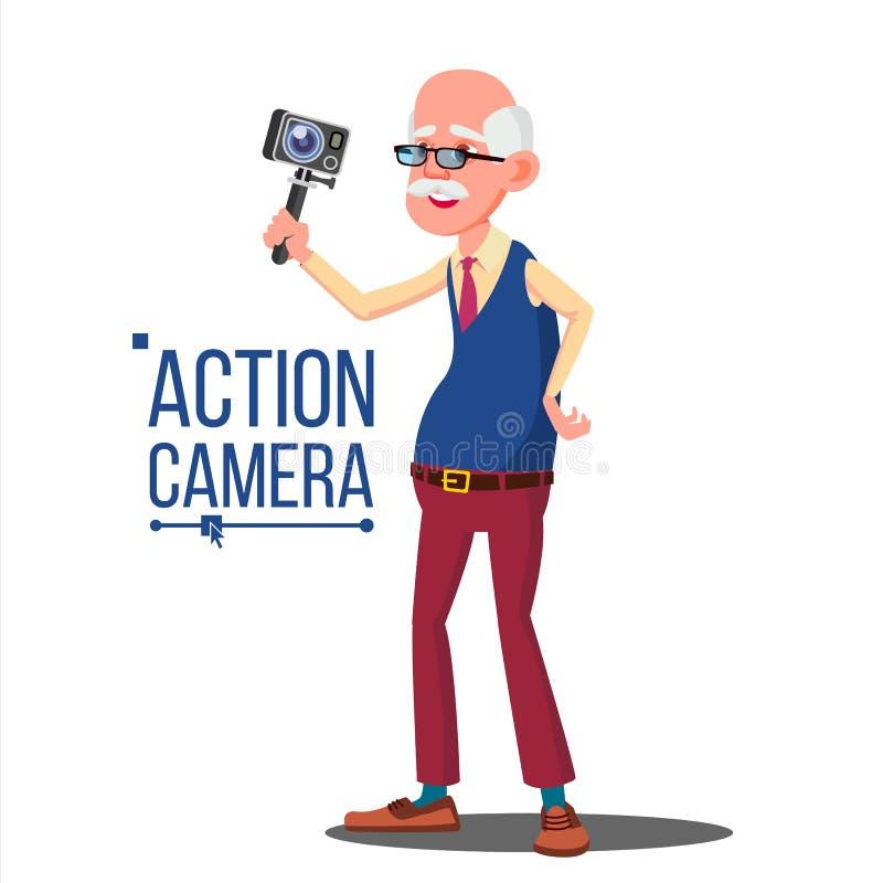 Viejo hombre con vector de la cámara de la acción Vídeo del uno mismo, retrato Proceso del tiroteo Vídeo de la grabación Historie libre illustration