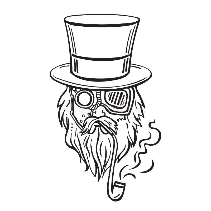Viejo hombre de Steampunk en sombrero de copa y vidrios ilustración del vector