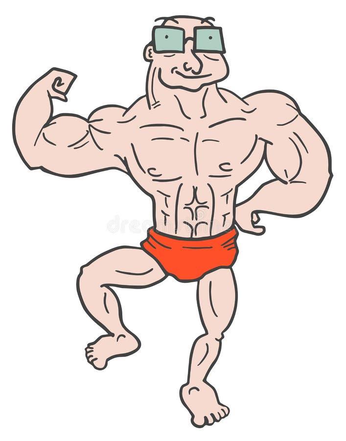 Viejo hombre del músculo stock de ilustración