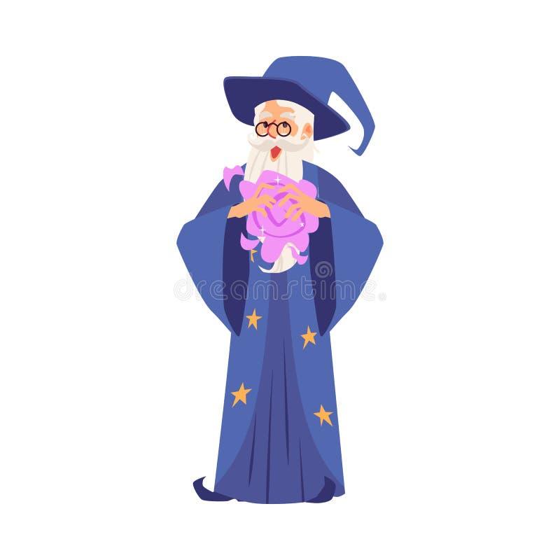 Viejo hombre del mago en los soportes del traje y del sombrero que hacen magia en su estilo de la historieta de las manos stock de ilustración