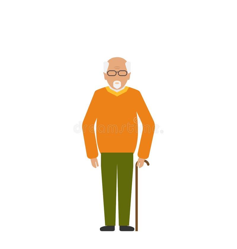 Viejo hombre discapacitado con la muleta del palillo stock de ilustración