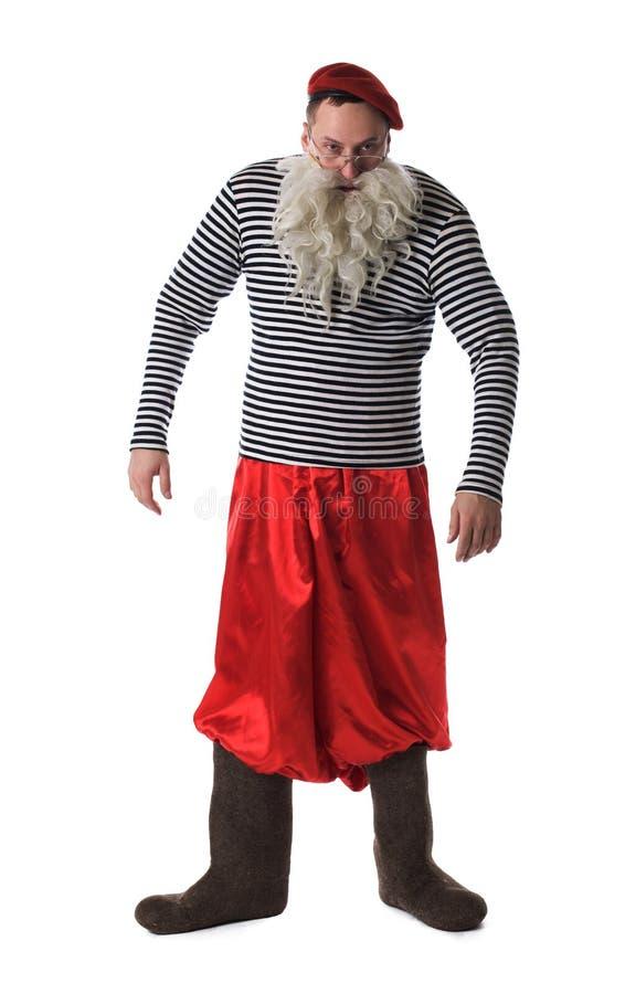 Viejo hombre divertido con la barba blanca imagen de archivo