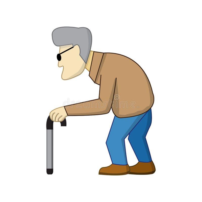 Viejo hombre en estilo de la historieta con la sombra stock de ilustración