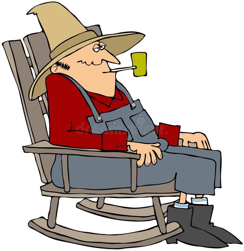 Viejo hombre en silla de oscilación de A libre illustration