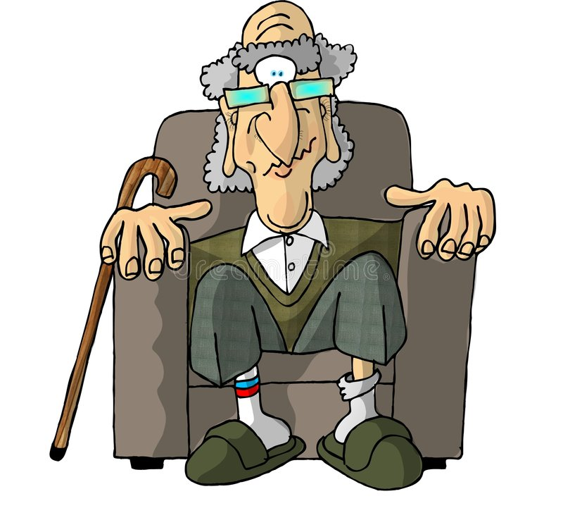 Viejo hombre en una silla fácil ilustración del vector