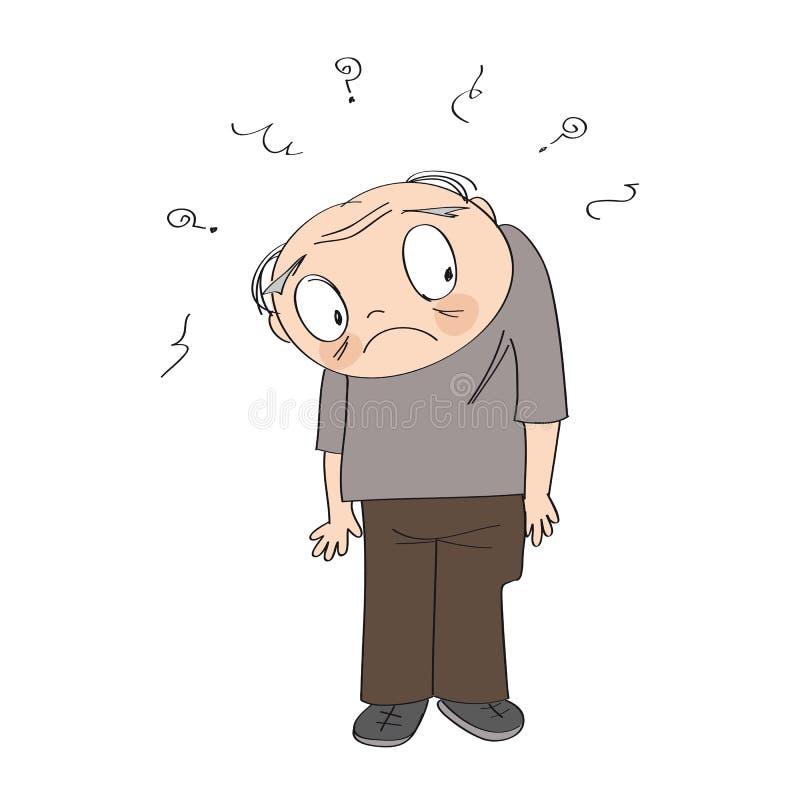 Viejo hombre frustrado, colocándose y sintiendo ejemplo exhausto de la mano original sola y perdida ilustración del vector