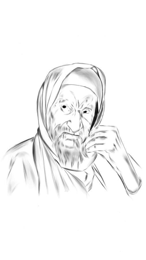 Viejo hombre ilustrado ilustración del vector
